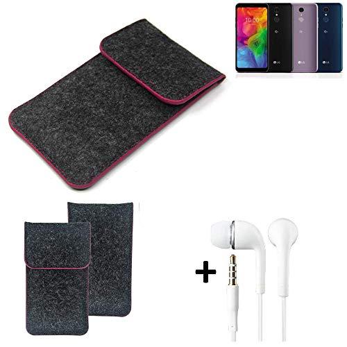 K-S-Trade® Filz Schutz Hülle Für LG Electronics Q7 Alfa Schutzhülle Filztasche Pouch Tasche Handyhülle Filzhülle Dunkelgrau Rosa Rand + Kopfhörer