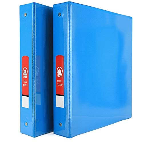"""Emraw Super Great 1 1/2"""" 3-Ring View Binder with 2-Pockets - Available in Cyan - Great for School, Home, & Office (2-Pack)"""