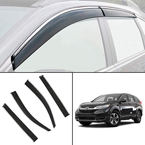 biosp Vent Visor For Honda CR-V CRV 5th gen 2017 2018 2019 Rain Sun Shade Window Deflectors Shield Wind Guard Side-Custom Fit 4 Pcs Set Smoke Gray