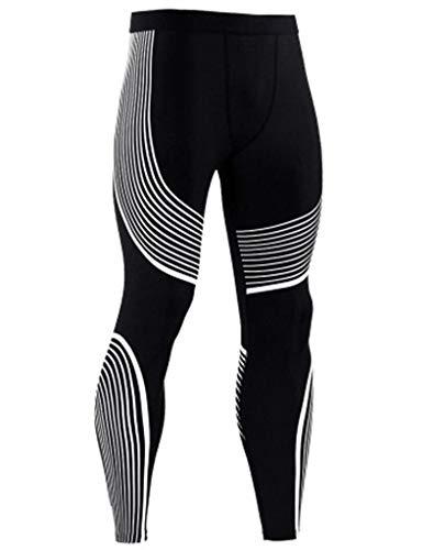 Moit Pantalones de compresión para hombre, pantalones de entrenamiento muscular, pantalones de gimnasio, correr, pantalones de fitness, yoga, pantalones deportivos Negro 2 XXXL