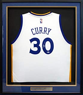 Golden State Warriors Stephen Curry Autographed Framed Adidas White Jersey Beckett Bas #F52370