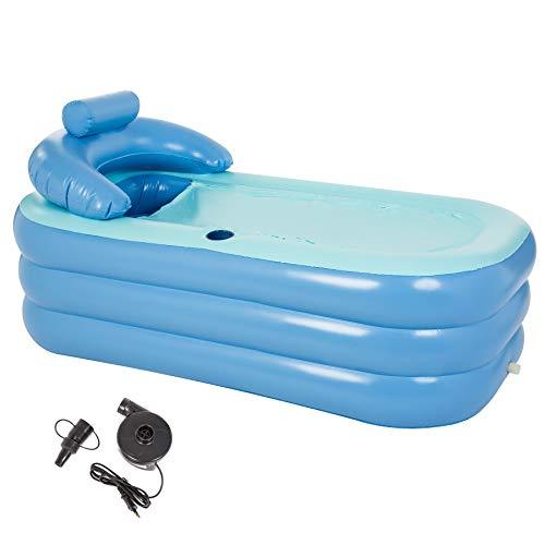 CO-Z Aufblasbare Badewanne Erwachsene Faltbare Spa-Badewanne PVC Aufblasbarer Pool Rechteckig mit Nackenkissen Tragbare Warm Badewanne für Camping Reisen Spa (PVC - mit Elektrische Pumpe)