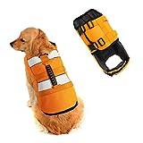 SILD Chaleco Salvavidas Ajustable para Perros Salvavidas de Seguridad Chaleco Reflectante para Mascotas Perro Salvavidas Chaleco Abrigo para natación Surf Caza (Naranja, XX-Large)