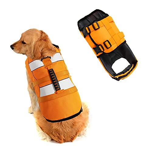 SILD Chaleco Salvavidas Ajustable para Perros Salvavidas de Seguridad Chaleco Reflectante para Mascotas Perro Salvavidas Chaleco Abrigo para natación Surf Caza (Naranja, Medium)