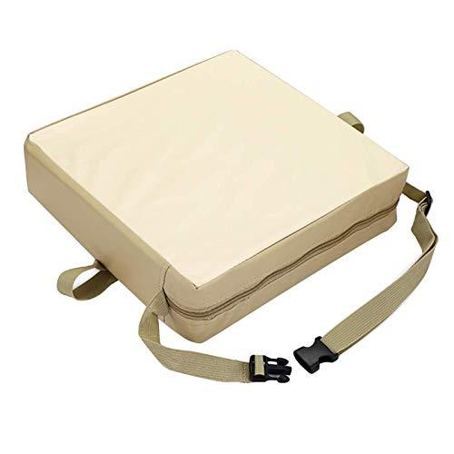 Cojín para asiento de comedor para niños pequeños, suave y transportable, con correas ajustables, 8 cm de grosor, lavable, almohadillas para sillas de comedor (beige)
