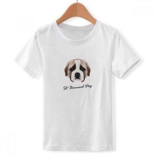 DIYthinker Perro Lindo st.Bernard Animal de compañía con Cuello Redondo de la Camiseta para Chico Multicolor Pequeña