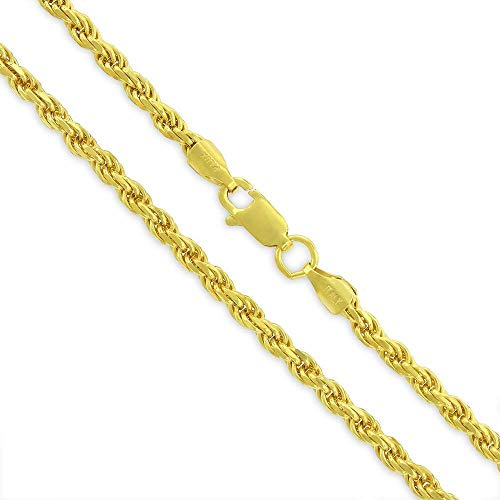 14K Gold Plated Solid Sterling Silver Rope Diamond-Cut Braided Twist Link .925 Necklace Chains 1.5MM - 5.5MM, 16