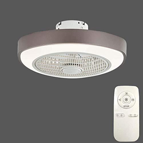 Ventilador de Techo para Interiores con Luz Led de 32 W,Luz de Techo Regulable Moderna,Montaje Empotrado con Control Remoto,3 Archivos,Ventilador de Techo Acrílico Sin Cuchillas Invisible para Sal