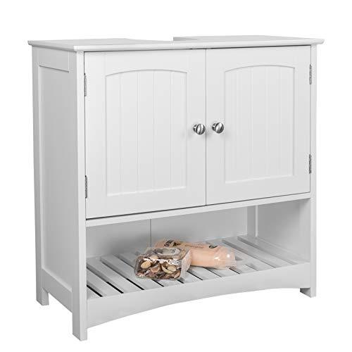 EUGAD Waschbeckenunterschrank Badezimmerschrank Unterschrank Waschtisch Badschrank mit 2 Türe 60 x 30 x 60 cm Weiß