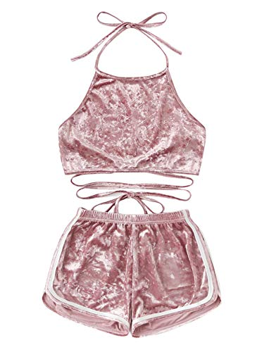 SOLY HUX Women's Velvet Open Back Halter Top with Shorts Elastic Waist Blouse Pink X-Small