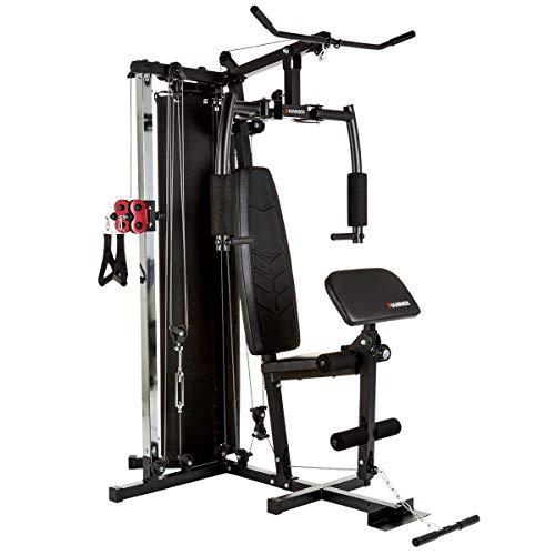 HAMMER Kraftstation Ferrum TX2, Trainingsstation mit Seilzugsystem, Umfangreiches Zubehörset, Übungen für Bauch, Rücken & Co, über 45 Übungsmöglichkeiten, 150 x 120 x 198 cm