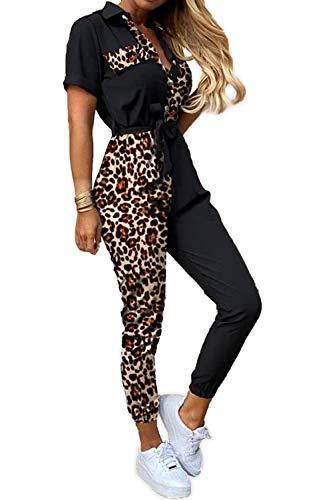 Damen Leo Print Jumpsuit Design Muster Freizeitanzug Fitness Fashion Overall Sommer Playsuit, Farben:Schwarz, Größe:44