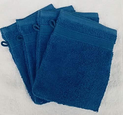 Lot de 10 Gants de Toilette 600gr/m² 100% Coton/Set de 10 Gants de Toilette Ultra-Confort (Bleu/Blue)
