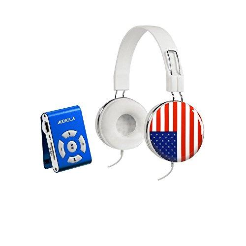 Audiola SDB 8811 CF - Lettore Mp3, Memoria 8G, aggancio a clip colore Blu + cuffie disegno bandiera USA con controllo volume sul cavo
