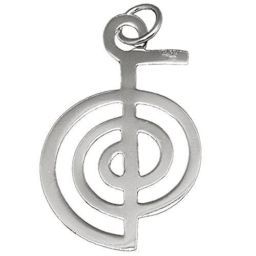 Colgante plata Ley 925m liso 36mm. Chokurei amuleto símbolo energía