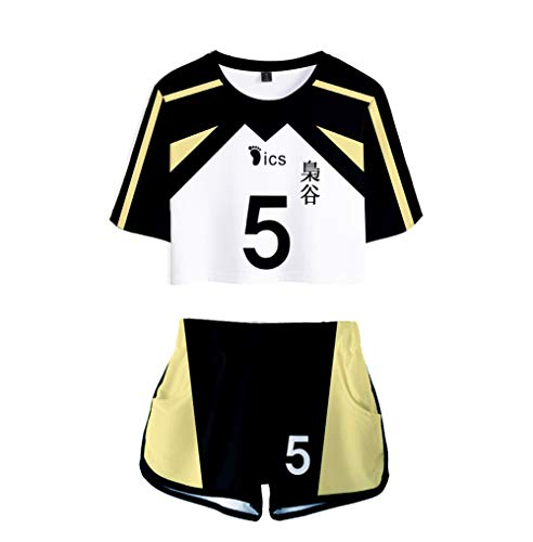 Haikyuu T-Shirts und Kurze Hose 2 Stück Sportswear Set für Mädchen Jungen (Weiß-5, L)