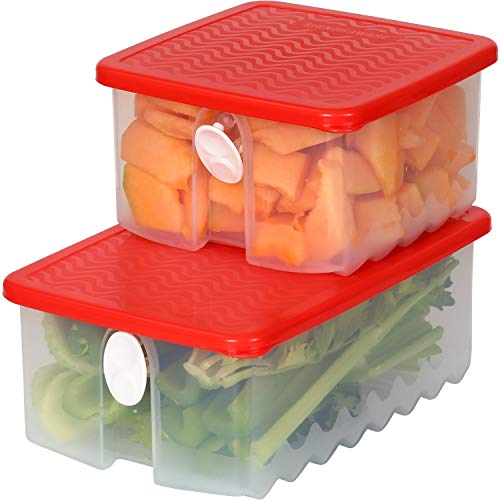 Fresh Fruit and Vegetable Food Keeper Saver Storage Container with Air Vented Lids Produce Keeper Dishwasher, Freezer, Refrigerator-Safe – 100% Food-Safe, BPA-Free Plastic Organizer - Combo Set