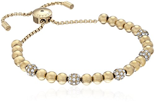 Gold-tone beaded bracelet featuring four pave crystal beads Adjustable box chain with logo-engraved slider and aglets Imported