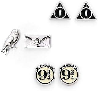 Officiële Harry Potter Stud Earring Set inclusief Platform 9 3/4, Hedwig & Letter en de Deathly Hallows oorbellen van The ...