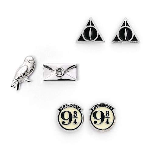 The Carat Shop Harry Potter Plataforma 9 3/4, Hedwig, Carta y Reliquias de la Muerte Stud Pendientes Conjunto