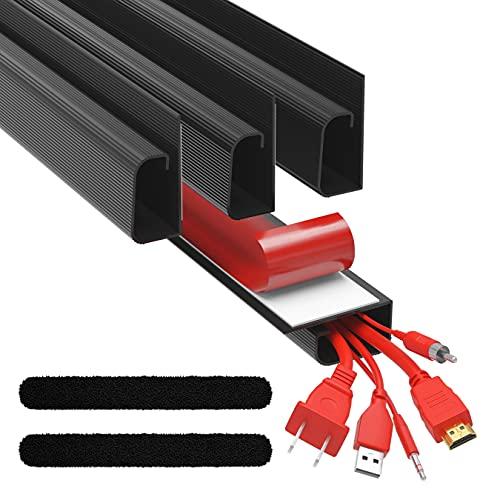 J Channel Kabelkanal Set - Kabel Organizer für Schreibtisch - 4x 41cm Schwarz Untertisch Kabelmanagement für Büro und Zuhause