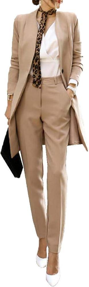 Youngate Women Business Mid Long Blazer Jacket and Pants Suit Slim Fit 2 Pcs Set
