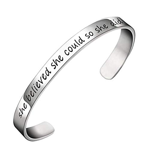 YOYONY Classic Sterling Silver She Believed she Could so she did Inspired Hand Stamped Expandable Cuff Bracelet,2020 Inspirational Graduation Gifts.