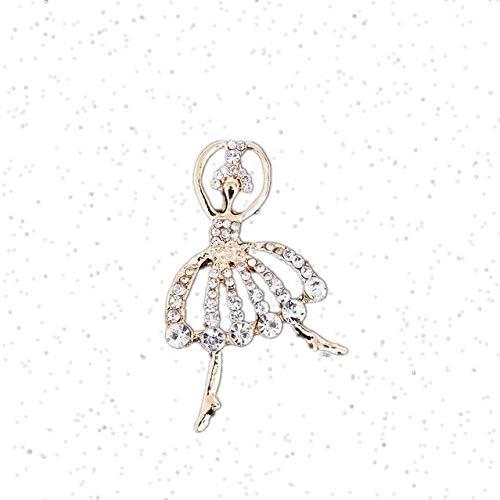 Broche de bailarinas de diseño vintage, broches de ballet de diamantes de imitación para mujer, broche de cristal brillante, accesorios para abrigo de vestir, color dorado