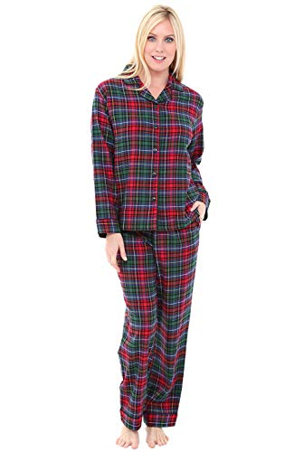 Alexander Del Rossa Women's Warm Flannel Pajama Set, Long Button Down Cotton Pjs, Small Red Green Blue Even Plaid (A0509V69SM)