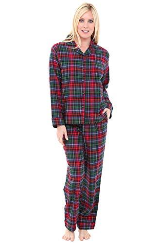 Alexander Del Rossa Women's Warm Flannel Pajama Set, Long Button Down Cotton Pjs, Medium Red Green Blue Even Plaid (A0509V69MD)