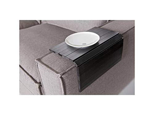 Sofatablett/Ablage Schwarz in Größe 36 x 45cm / Armlehnenschoner für Couch, Abstellplatz für Snacks und Getränke auf der Sofa Armlehne, flexibel in der Breite