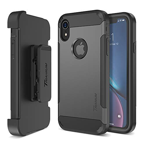 Trianium Holster Case Designed for iPhone XR [Duranium Series] w Rotating Belt Clip + Kickstand [Heavy Duty Protection], Scratch Resistant Shock Absorption for iPhone XR (6.1) 2018 - Gunmetal