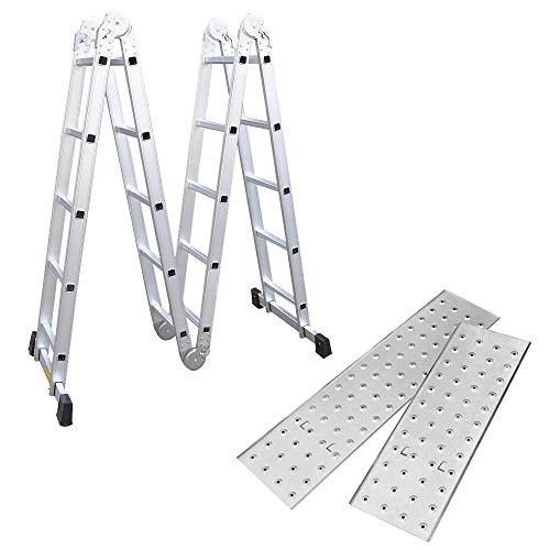 Aufun Escalera multifunción, andamio, 2 placas andamios y 2 travesaños de suelo, 20 peldaños, 5,5 m de longitud total, hasta 150 kg