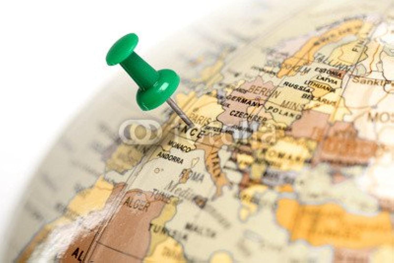 ofreciendo 100% Ubicación de Francia. De colour verde pin on the the the map, (79754202), lona, 140 x 90 cm  bienvenido a orden