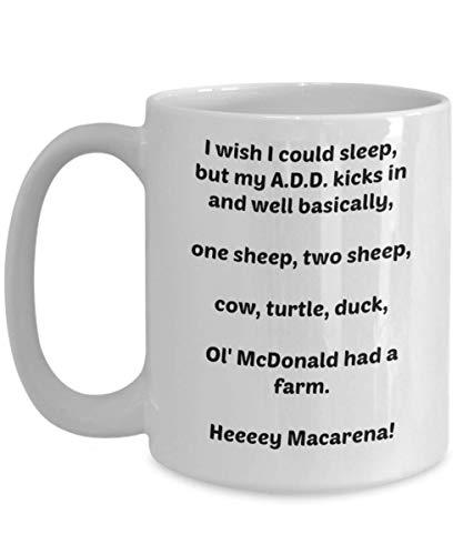 Funny Novelty Mug Insomnia ADD ADHD Gift Idea Cup