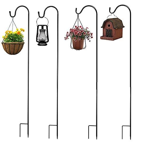 UPKOCH 4 ganchos de jardín de 90 cm, varilla de hierro pastor de metal con gancho, soporte para macetas, para bodas, césped, lámparas solares, farolillos, iluminación navideña