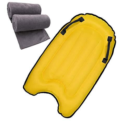 Backboards Tablero de Remo Inflable,Duradero Ligero Tablas Paddle Surf, Equipo Auxiliar de Natación, Adolescentes para Niños Cama de Verano Principiantes,Yellow