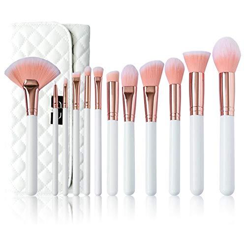 Mosumi Juego de brochas de maquillaje profesional de 10 unidades, para colorete, base, cejas, nariz, labios, polvo, cosméticos con una bolsa de cepillo (blanco)