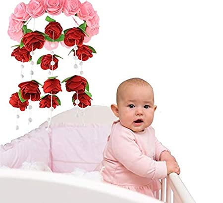 Beautiful and Unique Magical Baby Handmade Felt Bed /& Crib Mobile With Arm Holder Blue Roses Nursery Decorations /& Accessories for Infants /& Toddlers. Best Hanging Toys