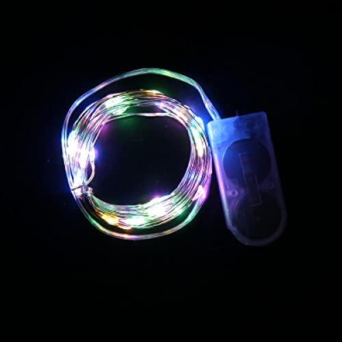 MLOPPTE Navidad,Cadena de luz LED lámpara de Alambre de Cobre botón batería Navidad año Nuevo decoración de jardín al Aire Libre para Boda Fiesta de cumpleaños 2M Colorido