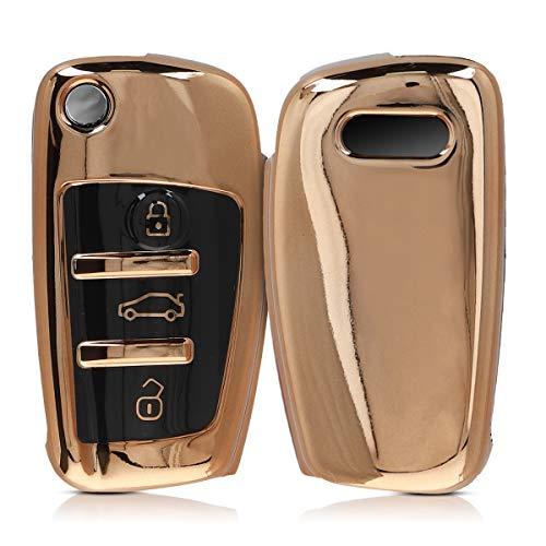 kwmobile Autoschlüssel Hülle kompatibel mit Audi 3-Tasten Klappschlüssel - TPU Schutzhülle Schlüsselhülle Cover in Hochglanz Gold