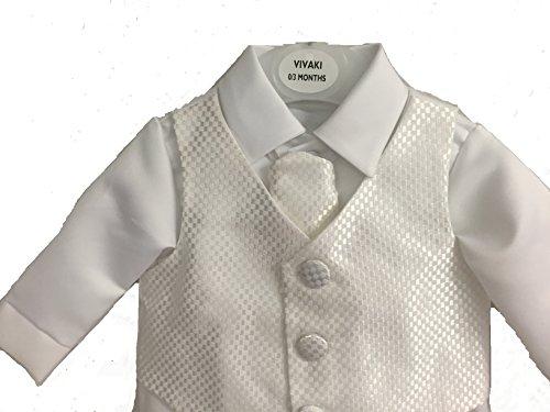 Vivaki Tenue de baptême bébé garçon à carreaux blanc taille 18-24 mois