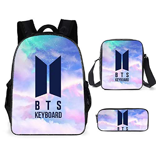 BTS Backpack, Lunch Bag Pencil Case Kids School Bags Student Bookbag for boys Girls Teens Fans Gifts (B)