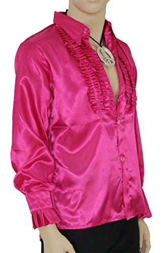 Foxxeo Pinkes Rüschenhemd für Herren 70er Jahre Disco Hemd Fasching Karneval Motto-Party pink, Größe M