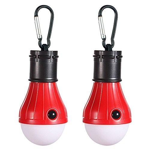 GZQ LED-Camping-Lampe, 2 Stück, tragbare Notfall-Zelt-Laterne für Outdoor-Rucksackreisen, Camping, Wandern, Angeln, Hurricane, Sturm, Stromausfall, batteriebetrieben, rot