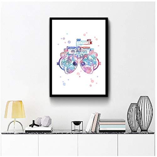 chtshjdtb Aquarell-Optometrie-Werkzeug-Augenheilkunde-Kunst-Plakat-Malerei, optometrische Instrument-Kunst-optische Segeltuch-Drucke Augen-Klinik Decor-50x70 cm kein Rahmen