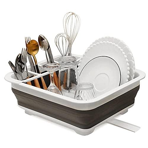 POMNGYUIL Estante para platos,Estante para platos plegable,Soporte de almacenamiento de cocina,Estante de secado portátil de la placa de la vajilla,Organizador de vajilla casera
