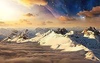 パズル500ピースDIY木製パズルジグソーパズルラージクラシックパズルスノーマウンテン星空空自然景観パズル