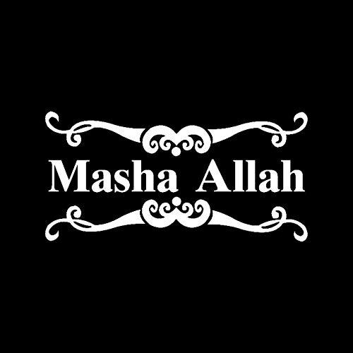 JKGHK Masha Allah Vinyl-Aufkleber, islamischer muslimischer Auto-Aufkleber, Schwarz/Silber, 16,2 cm x 8,2 cm