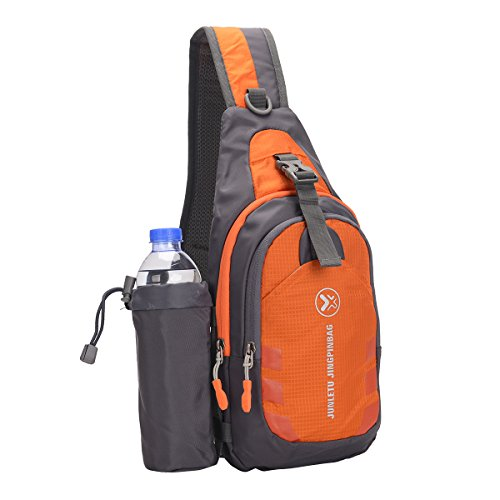 Tinksky Sac à Bandoulière Poitrine Sac à Dos Triangle Imperméable avec détachable Bouteille d'eau Poche pour Sport en Plein air Gym Voyage randonnée (Orange)
